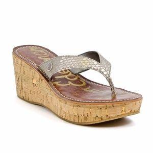 Sam Edelman Romy Gold Cork Wedges Sandals Thongs 8